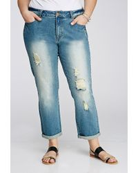 Forever 21 | Blue Plus Size Distressed Boyfriend Jeans | Lyst
