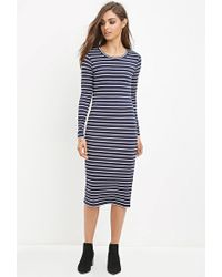 Forever 21 - Blue Striped Midi Dress - Lyst