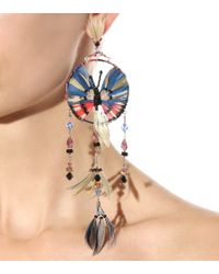 Valentino - Feather And Bead Embellished Earrings - Multicolor - Lyst