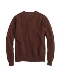 J.Crew - Brown Italian Cashmere V-neck Sweater for Men - Lyst