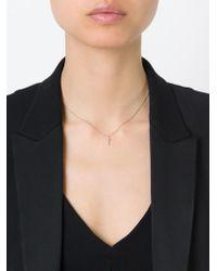 Saint Laurent - Metallic Crucifix Pendant Necklace - Lyst