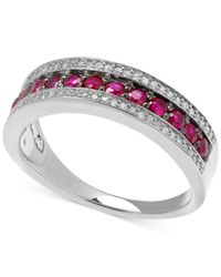 Macy's | Red Diamond (1/8 Ct. T.w.) And Ruby (5/8 Ct. T.w.) Band In Sterling Silver | Lyst