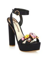 Sophia Webster - Black Amanda Bejeweled Satin Platform Sandals - Lyst
