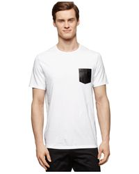 Calvin Klein | White Faux-leather Pocket Slim-fit T-shirt for Men | Lyst