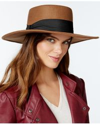 Nine West | Brown High Crown Felt Boater Hat | Lyst