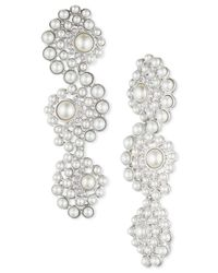 Givenchy | White Silver-tone Faux Pearl And Crystal Linear Earrings | Lyst
