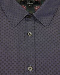 Ted Baker - Blue Tonal Spot Print Shirt for Men - Lyst