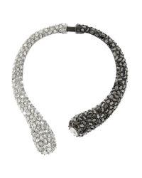 Kenneth Jay Lane - Metallic Rhodium-Plated Crystal Necklace - Lyst