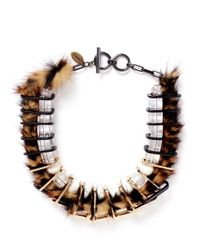 Venna - Brown Faux Fur Chain Link Choker Necklace - Lyst