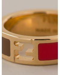 Fendi | Metallic Enameled Ring | Lyst