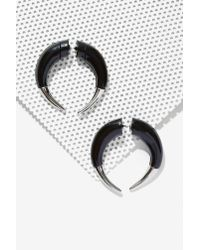 Nasty Gal - Black Lock Horns Tunnel Earrings - Lyst