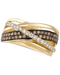 Le Vian - Brown Chocolate And White Diamond Crossover Ring In 14k Gold (9/10 Ct. T.w.) - Lyst