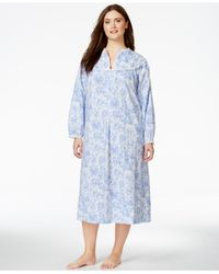 Lanz of Salzburg | Blue Plus Size Long Flannel Nightgown | Lyst
