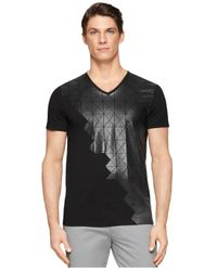 Calvin Klein - Black Ck One Grid-Graphic V-Neck Slim-Fit T-Shirt for Men - Lyst