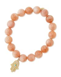 Sydney Evan | Pink Rainbow Moonstone Beaded Bracelet With Diamond Hamsa | Lyst