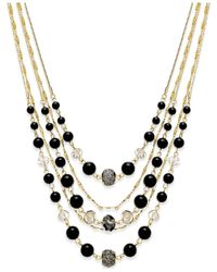 INC International Concepts | Black Gold-tone Jet Bead Multi-row Necklace | Lyst