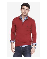 Express | Red Zip-up Mock Neck Small Lion Sweater for Men | Lyst