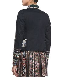 Valentino - Black Embroidered Gabardine Military Jacket - Lyst