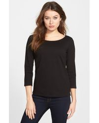 Eileen Fisher | Black Ballet Neck Organic Cotton Tee | Lyst