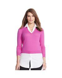 Ralph Lauren | Pink Layered V-neck Sweater | Lyst