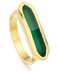 Monica Vinader | Metallic Gold Vermeil Green Onyx Baja Ring | Lyst