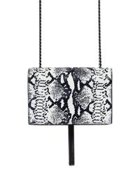Saint Laurent - Black Monogram Python Effect Leather Bag - Lyst