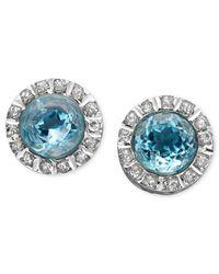 Macy's - 14K White Gold Earrings, Blue Topaz (6 Ct. T.W.) And Diamond Accent Stud Earrings - Lyst