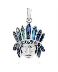 Aeravida - Metallic American Indian Chief Head Abalone Inlay .925 Silver Pendant - Lyst