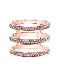 Anne Sisteron | Pink 14kt Rose Gold Diamond Triple Bar Ring | Lyst