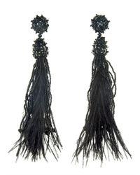 Oscar de la Renta - Black Long Tassle Feathered Earrings - Lyst