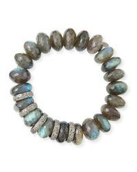 Sheryl Lowe - Gray 14mm Faceted Labradorite & Pave Diamond Rondelle Bracelet - Lyst
