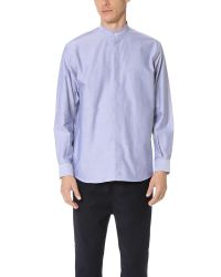 CAMO - Blue Babieca Band Collar Oxford Shirt for Men - Lyst