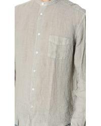 Hartford Gray Band Collar Linen Shirt for men
