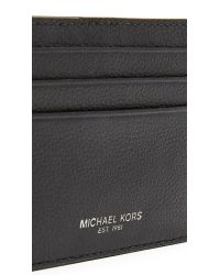 Michael Kors - Black Bryant Pebbled Leather Tall Card Case for Men - Lyst