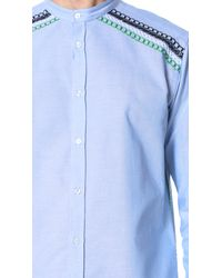 MSGM - Blue Collarless Embroidered Shirt for Men - Lyst
