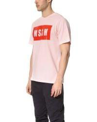 MSGM - Pink Box Logo Tee for Men - Lyst