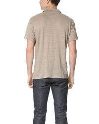 Vince - Natural Linen Short Sleeve Polo Shirt for Men - Lyst