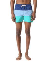 Maison Kitsuné   Blue Tricolor Fox Patch Swim Shorts for Men   Lyst