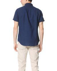 Scotch & Soda - Blue Short Sleeve Crinkled Linen Shirt for Men - Lyst
