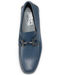 Ferragamo - Blue Parigi Bit Leather Drivers for Men - Lyst