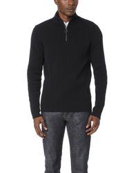 Vince - Black Half Zip Mock Neck Sweater for Men - Lyst
