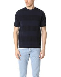 Tomorrowland - Blue Waffle Border Short Sleeve Sweater for Men - Lyst