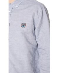 KENZO - Gray Tiger Crest Casual Shirt for Men - Lyst