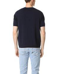 Tomorrowland - Blue Waffle Border Short Sleeve Sweater for Men - Lyst