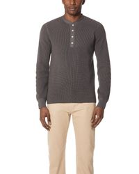 Vince - Gray Long Sleeve Thermal Henley for Men - Lyst