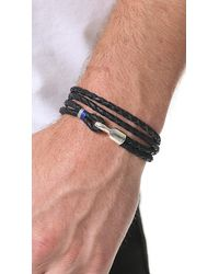 Miansai - Black Trice Woven Leather Wrap Bracelet for Men - Lyst