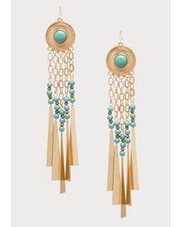 Bebe | Blue Bead & Fringe Earrings | Lyst