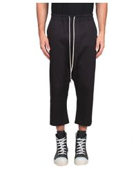 Rick Owens - Black Drawstring Cropped Cashmenre And Wool Trousers for Men - Lyst