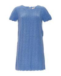 Orley - Blue Cotton Wave Stitch Hand Crocheted Dress - Lyst