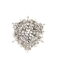 Saint Laurent | Metallic Crystal Brooch | Lyst